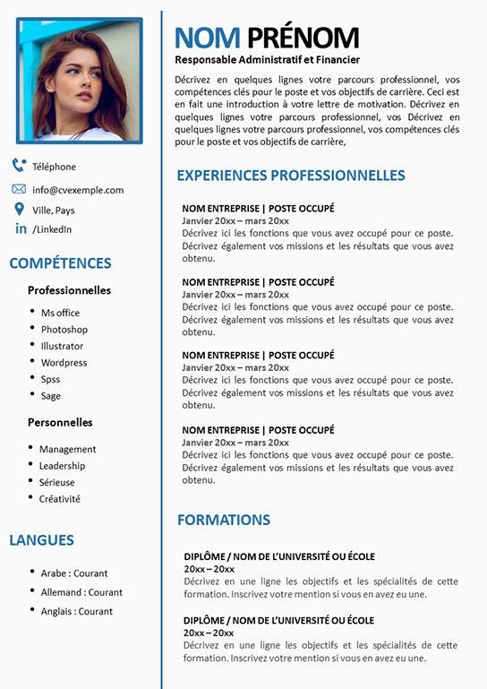 CV Responsable Administratif et Financier