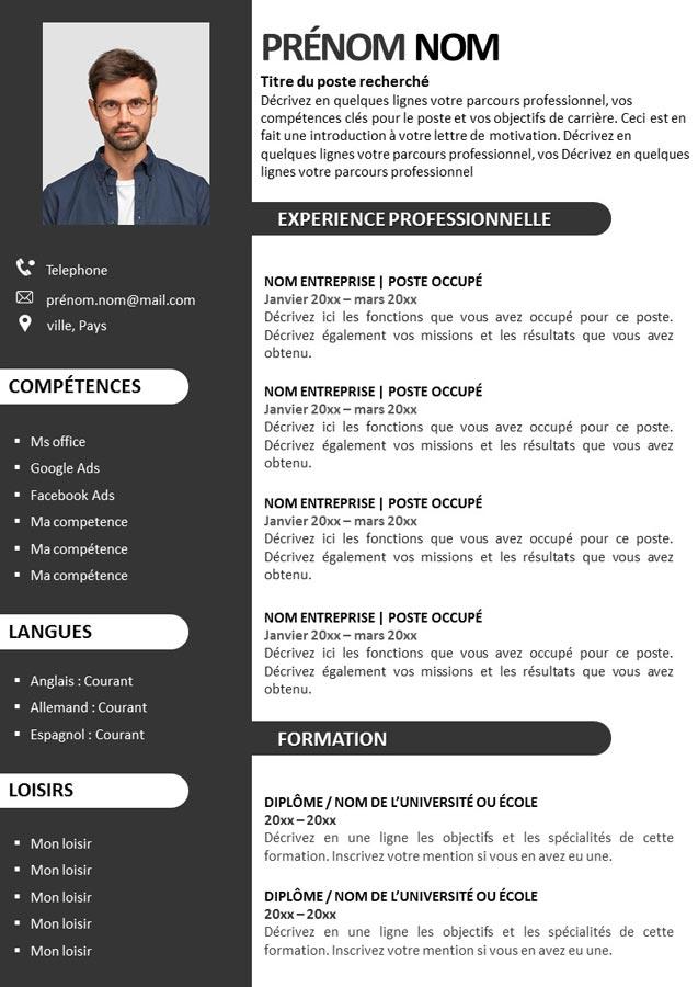 CV luxe Gratuit à télécharger