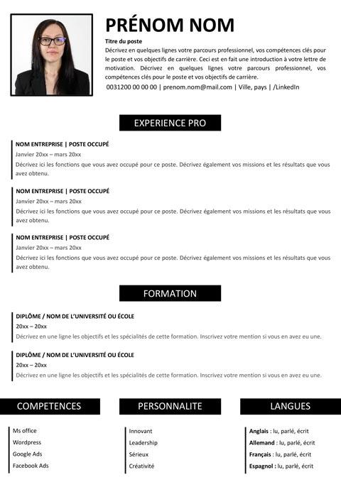 CV prêt à l'emploi