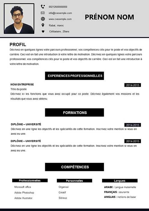 CV débutant Maroc