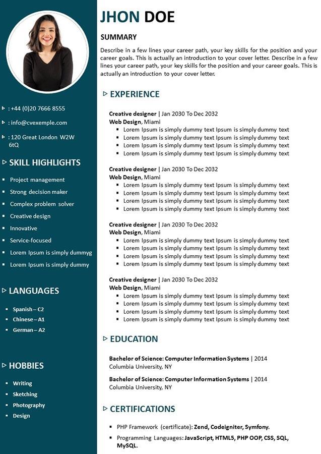 CV Élégance en anglais