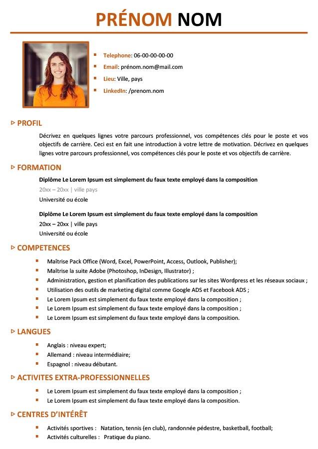 Exemple De CV étudiant Professionnel