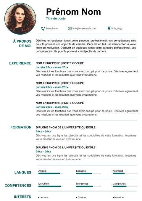 CV personnalisable