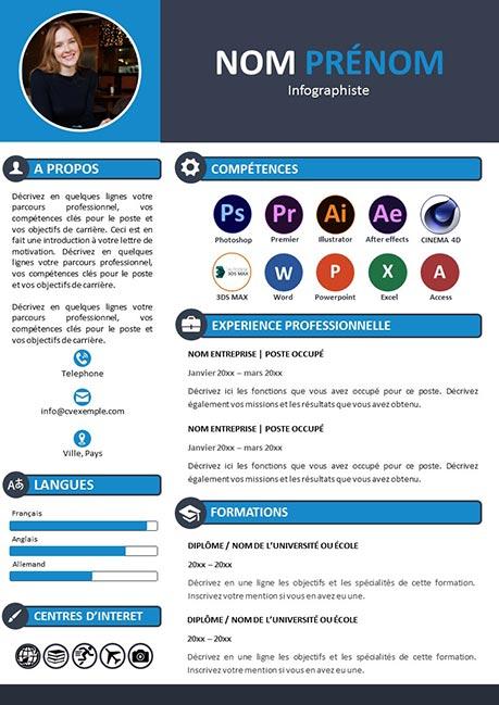 Modèle de CV pour les infographiste